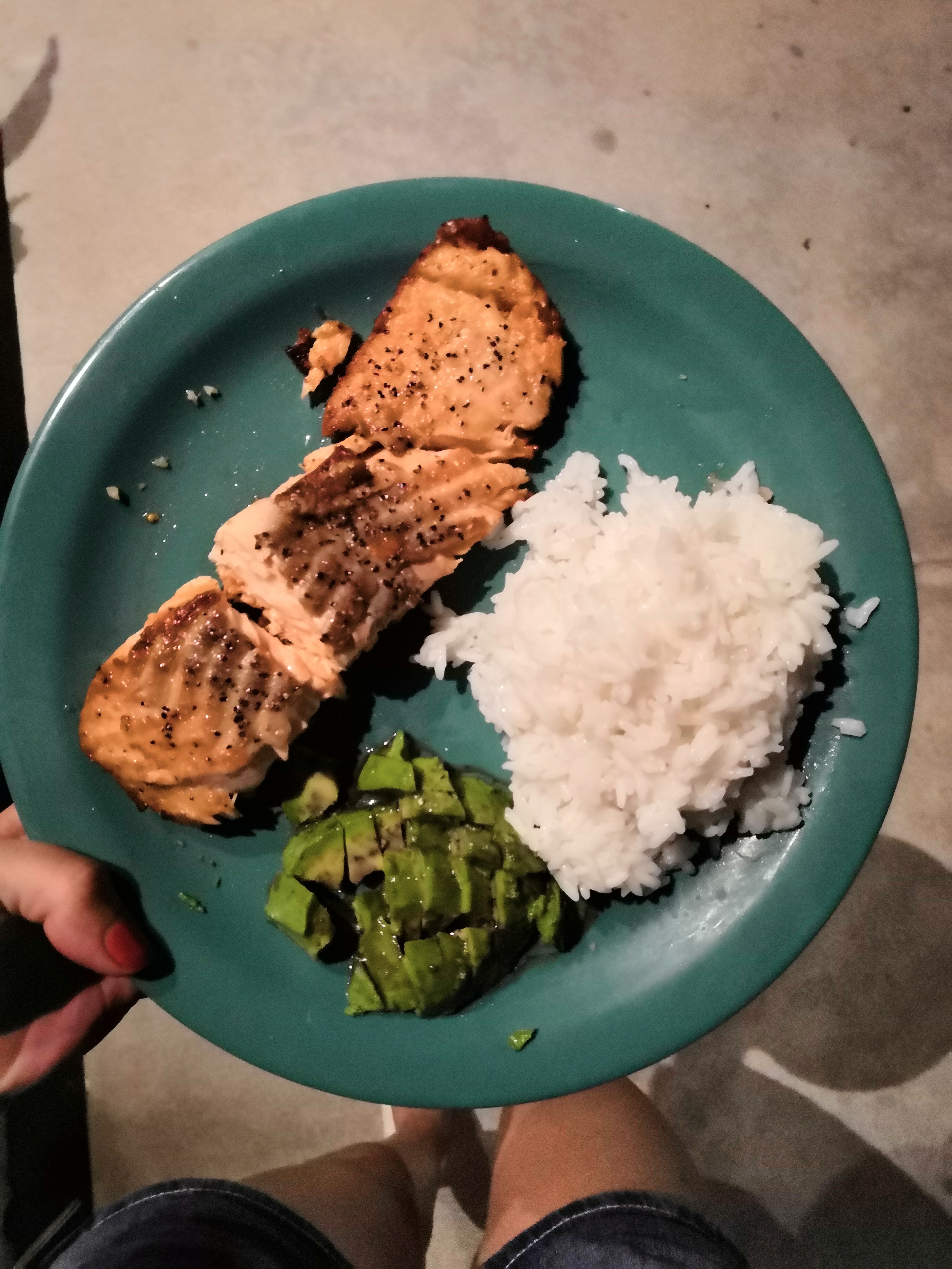 Lachs und Reis